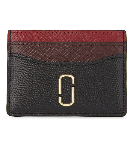 MARC JACOBS Snapshot Saffiano leather card holder (Black/chianti
