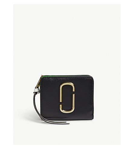 MARC JACOBS Snapshot mini Saffiano leather purse (Black/baby+pink