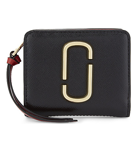 MARC JACOBS Snapshot mini Saffiano leather purse (Black/chianti