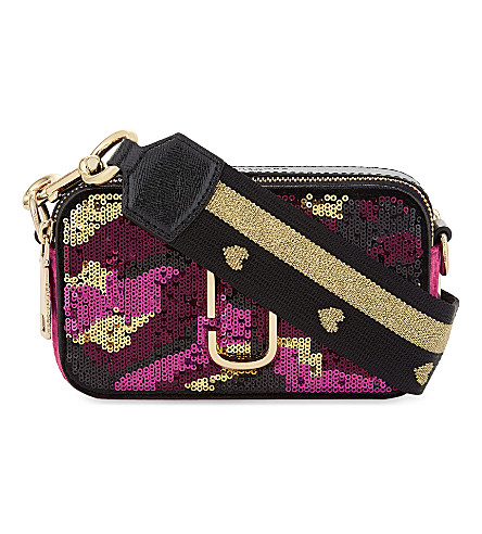 MARC JACOBS Sequin leather cross-body bag (Pink+multi
