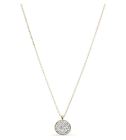 MARC JACOBS Pavé stone circle pendant necklace (Gold/crystal