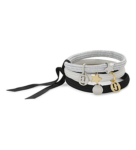 MARC JACOBS Double J charm hairbands 3-pack (Silver+multi