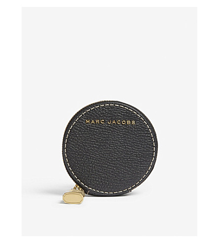 MARC JACOBS Round grained leather coin purse (Black