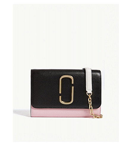 MARC JACOBS Double J leather wallet-on-chain (Black/baby+pink