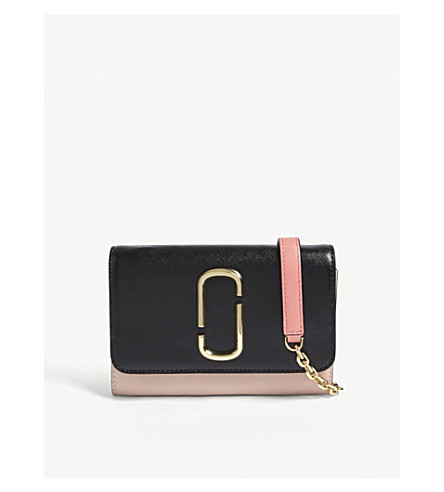 MARC JACOBS Double J leather wallet-on-chain (Black/rose