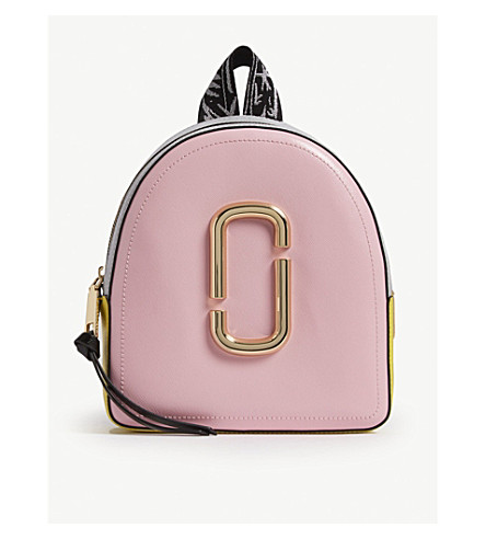 MARC JACOBS Pack Shot leather backpack (Baby+pink+multi