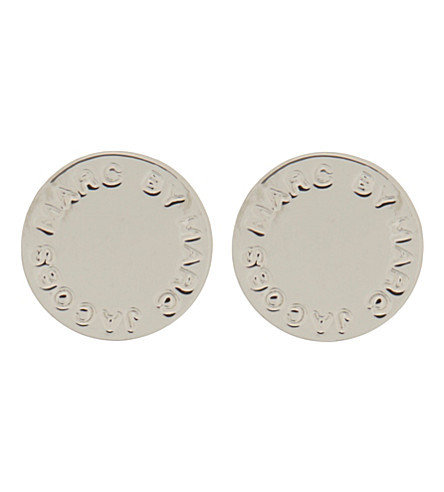 MARC BY MARC JACOBS Logo disc stud earrings (Argento