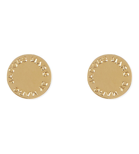 MARC JACOBS Logo disc stud earrings (Gold