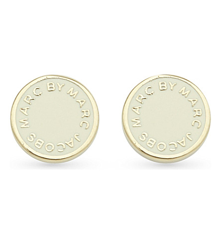 MARC BY MARC JACOBS Logo disc stud earrings (Cream