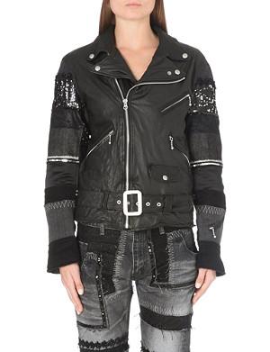 JUNYA WATANABE Patchwork sleeve leather jacket