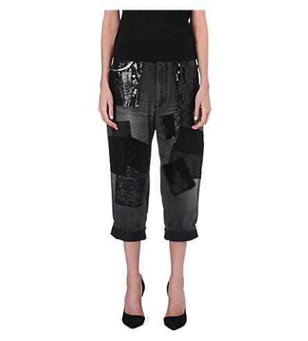JUNYA WATANABE Patchwork boyfriend dropped-crotch jeans (Black/multi