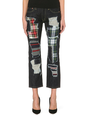JUNYA WATANABE Patchwork straight-leg cropped denim jeans