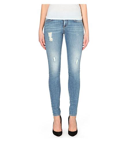 STELLA MCCARTNEY Distressed skinny mid-rise jeans (Vintage pale blue