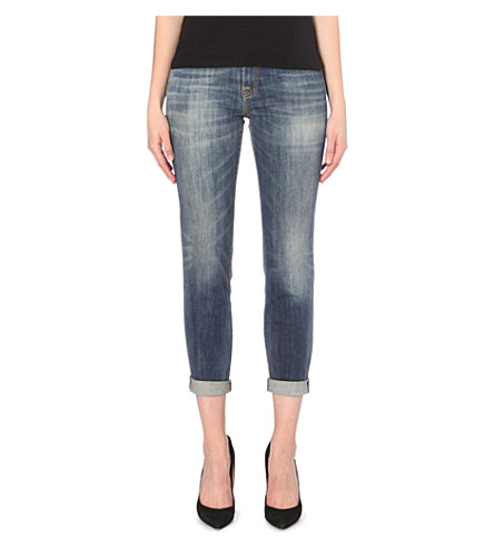 R13 Tapered mid-rise stretch-denim jeans (Faded blue