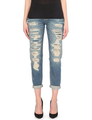 R13 Slim-fit distressed stretch-denim jeans