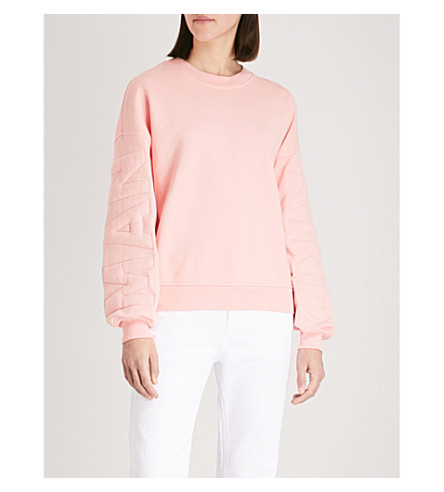 7 FOR ALL MANKIND Quilted logo cotton-jersey sweatshirt (Quartz+pink