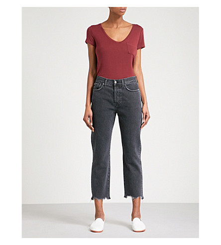 7 FOR ALL MANKIND Josefina boyfriend-fit straight cropped jeans (Ebony