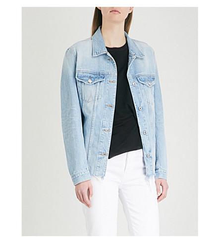 7 FOR ALL MANKIND Oversized frayed-hem denim jacket (Throwback+indigo