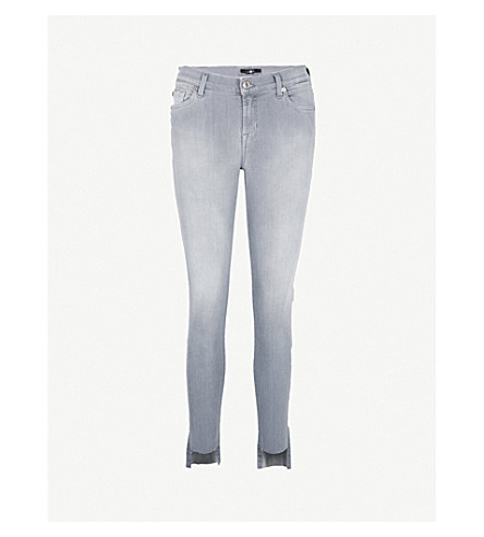 7 FOR ALL MANKIND Stepped-hem skinny high-rise jeans (Luxe+silver