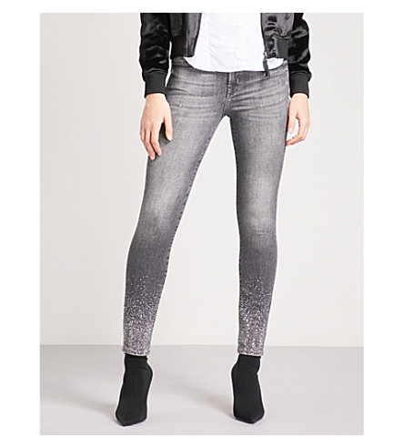 7 FOR ALL MANKIND The Skinny embellished super-skinny cropped mid-rise jeans (Black+crystals