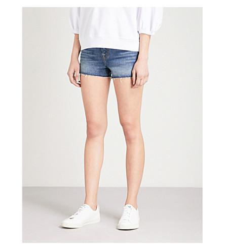 7 FOR ALL MANKIND Frayed-hem mid-rise denim shorts (Mojave+dusk