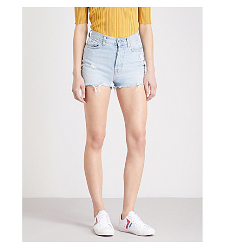 7 FOR ALL MANKIND Distressed stretch-denim shorts (Throwback+indigo