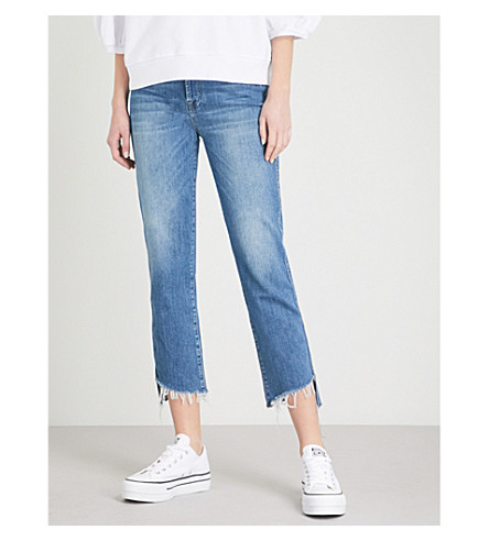 7 FOR ALL MANKIND Edie distressed straight cropped high-rise jeans (Escape+blue