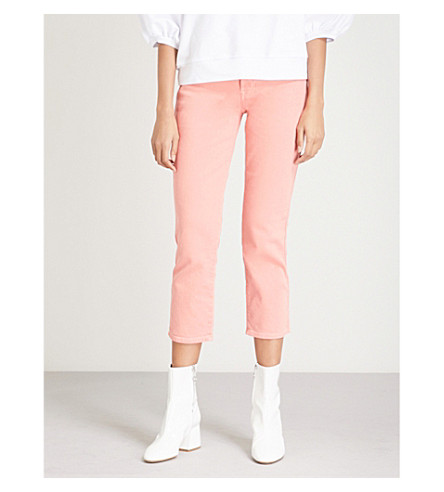 7 FOR ALL MANKIND Edie straight cropped high-rise jeans (Coral+crush
