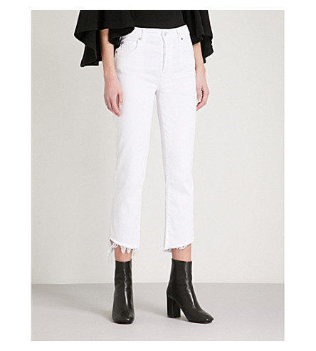 7 FOR ALL MANKIND Edie straight high-rise jeans (Pure+white