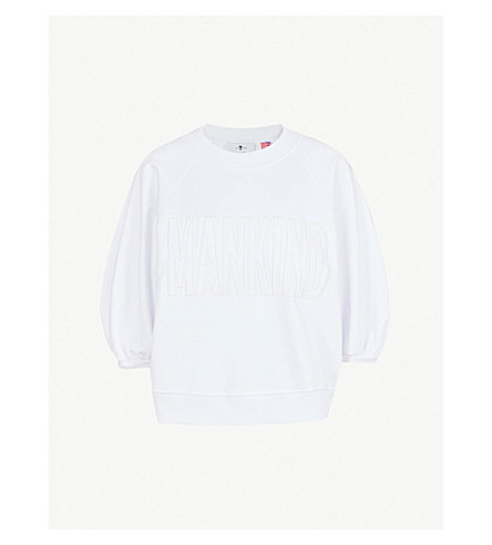 7 FOR ALL MANKIND Embossed logo cotton-jersey sweatshirt (Bright+white