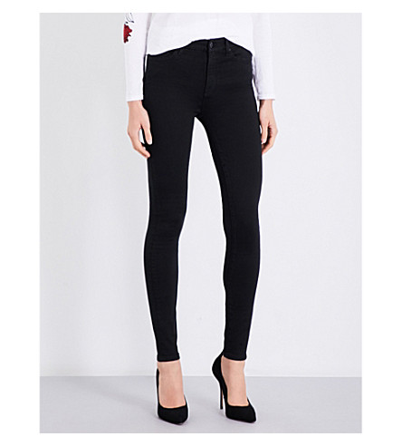 7 FOR ALL MANKIND Skinny high-rise jeans (Rinsed+black