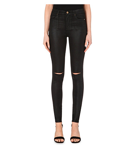 7 FOR ALL MANKIND Coated super-skinny high-rise jeans (Coated black