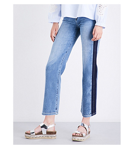 7 FOR ALL MANKIND Kiki straight cropped high-rise jeans (Gold+coast+waves
