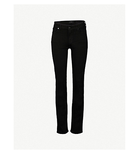 7 FOR ALL MANKIND Kimmie straight-leg mid-rise jeans (Slm+illus+luxe+rnsd+blk