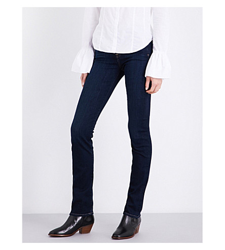 7 FOR ALL MANKIND Kimmie slim-fit straight-leg stretch-denim jeans (Bair+rinsed+indigo