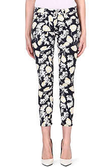 7 FOR ALL MANKIND The Skinny floral-print mid-rise jeans