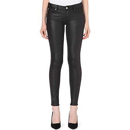 7 FOR ALL MANKIND Skinny mid-rise faux-leather jeans (Black