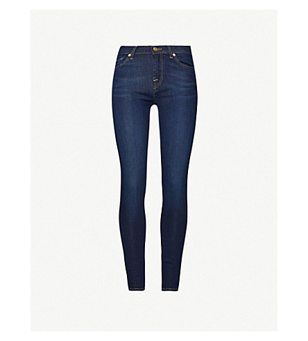 7 FOR ALL MANKIND Bair super-skinny mid-rise jeans (Rinse+indigo
