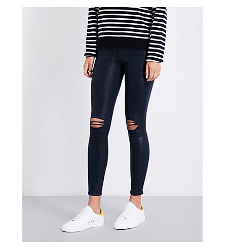 7 FOR ALL MANKIND The Ankle Skinny coated super-skinny high-rise jeans (Coated+ink+dis