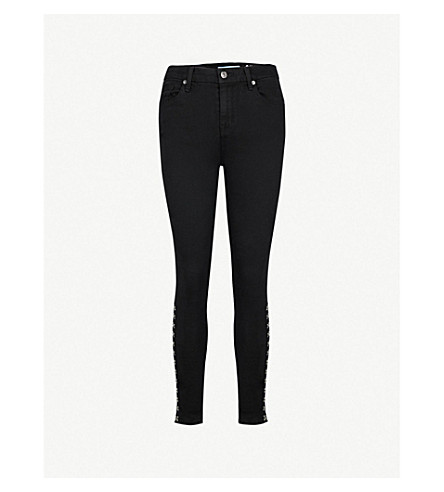 7 FOR ALL MANKIND Hook-and-eye detail skinny high-rise jeans (Bair+black