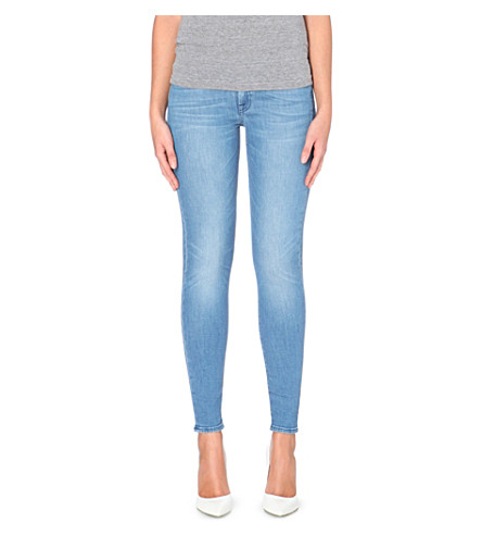 7 FOR ALL MANKIND Skinny mid-rise jeans (Bright blue