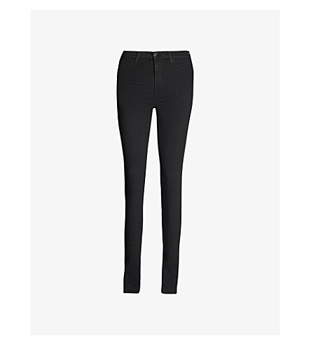7 FOR ALL MANKIND Illusion luxe slim-fit high-rise jeans (Rinsed+black