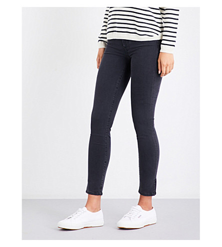 7 FOR ALL MANKIND The Skinny slim-fit high-rise jeans (Washed+blk+w/side+split