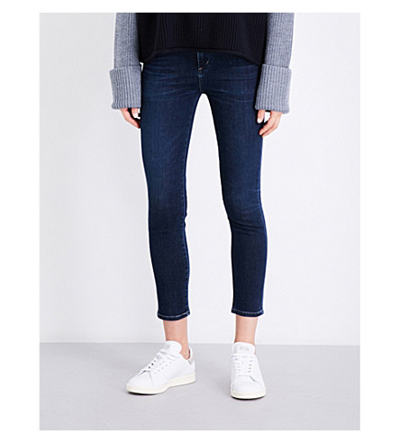 7 FOR ALL MANKIND Slim Illusion skinny high-rise jeans (Luxe+dark+w/side+split