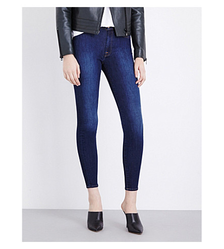 7 FOR ALL MANKIND Skinny high-rise stretch-denim jeans (Boston+blue