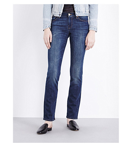 7 FOR ALL MANKIND Straight mid-rise jeans (Brooklyn+dark