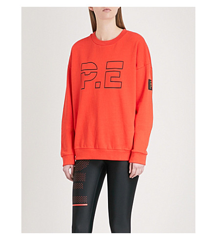P.E NATION Ringside cotton-jersey sweatshirt (Red
