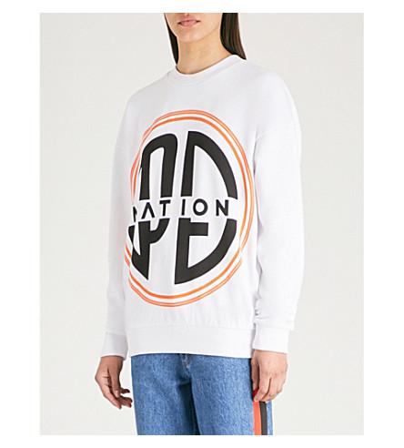 P.E NATION 徽标打印平纹针织棉卫衣 (白色