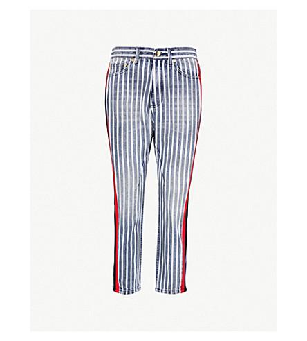 P.E NATION精神条纹高直牛仔裤 (靛蓝