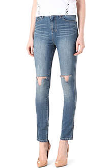 KSUBI Ripped straight-leg high-rise jeans